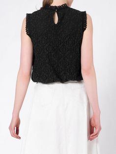 Shop Tanks and Camis - Black Stand Collar Crocheted Sleeveless Cotton Tanks And Cami online. Discover unique designers fashion at StyleWe.com.