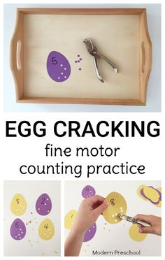 Crack those eggs! Practice counting, numbers, and fine motor skills with presch… Crack those eggs! Practice counting, numbers, and fine motor skills with preschoolers & kindergarteners with this Easter or spring themed activity! Motor Skills Activities, Counting Activities, Montessori Activities, Spring Activities, Kindergarten Activities, Preschool Fine Motor Skills, Montessori Elementary, Easter Activities For Preschool, Preschool Dinosaur