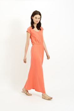 Marie Maxi Dress in Coral - organic/sustaingable