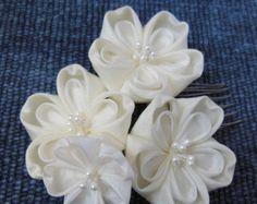 SUMMER SALE Plum Dahlia Silk Tsumami Kanzashi by HanamiGallery