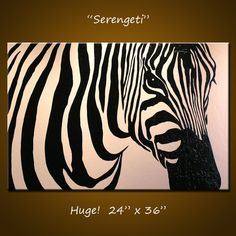 "Original Large Abstract Painting Modern Contemporary Zebra Animal Impasto... 24"" x 36"" ... Serengeti"