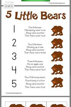 5 little bears poem preschool music, preschool themes, bear activities preschool, bear theme Bears Preschool, Preschool Music, Preschool Lessons, Preschool Classroom, Preschool Activities, Preschool Camping Theme, Winter Songs For Preschool, November Preschool Themes, Rhyming Preschool