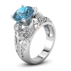 Fashion Women Jewelry 925 Silver Blue Topaz Engagement Wedding Pearl Ring  in Jewelry   Watches 888ddb4f412f