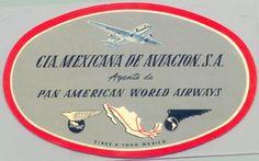 1940s CIA Mexicana De Aviacion, S.A. - Agente de Pan American World Airways Baggage Label