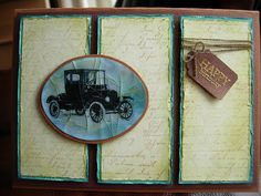 """handmade card: Cracked Glass Model T by Heather María ... antiqued/aged look ...  three panels .. faded look script background ... distressed edges ... Model  T card with covering of the cracked glass technique embossing ... great """"masculine"""" look!"""