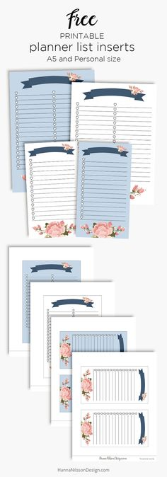Blue banner planner list inserts | Free printable download | A5 planner | Personal Filofax | #freeprintables #planner #A5 #printables #filofax