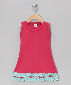 Take a look at this Pink & Aqua Ruffle Dress - Infant, Toddler & Girls by Drawing A Blank on #zulily today!