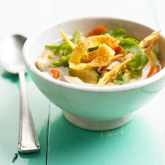 Skip takeout and keep this healthy Chicken and Tortilla Soup on hand. Each bowl is overflowing with nutrient-rich vegetables and topped with homemade tortilla strips. More healthy recipes: http://www.bhg.com/recipes/healthy/dinner/healthy-dinner-recipes-for-spring/ #myplate