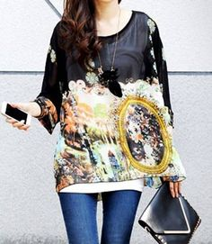 $7.94 Fashionable Scoop Neck 3/4 Sleeve Printed Chiffon With Necklace T-Shirt For Women