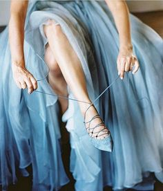 While many brides choose to wear a white wedding dress and matching shoes, there's no rule against wearing color. This bride donned a Leanne Marshall and suede Valentino lace-ups to match, which surely brought her plenty of luck on the big day. Baby Blue Aesthetic, Light Blue Aesthetic, Fae Aesthetic, French Bleu, Cinderella Aesthetic, I Love My Shoes, Everything Is Blue, Bleu Pastel, Himmelblau