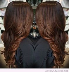Deep rich chocolate brown haircolor with hot curls