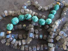 Labradorite knotted necklace  Thunder  semi precious by slashKnots, $228.00