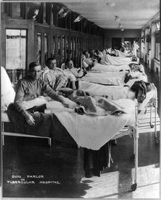 Sun parlor in Waverly Hills TB hospital,. [between ca. 1910 and ca. 1920] Dayton, Ohio (Library of Congress Prints and Photographs Division Washington, D.C. 20540 USA http://hdl.loc.gov/loc.pnp/pp.print)