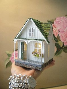 Teeny Weeny Shabby Streamside Studio- 1/4th scale      I think this would make a perfect little fairy cottage .