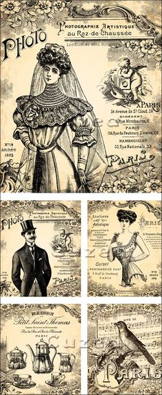 Vintage Bride, ladies and gent papers