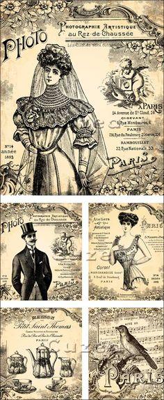Vintage Bride, ladies and gent papers