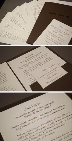 Calligrafia per Louis Vuitton Made to Order Shoes: inviti, menù e cartella stampa.