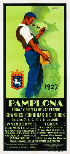 Cartel de los Sanfermines de 1927 - Fiestas y ferias de San Fermín, Pamplona :: Autor: Salvador Bartolozzi #Pamplona