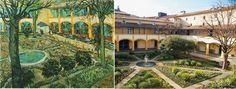O pátio do antigo hospício de arles hoje sede da Espace Van Gogh