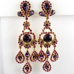 Hattie Carnegie (unsigned) Giant Gold Amethyst and Fuchsia Pendant Clip Earrings