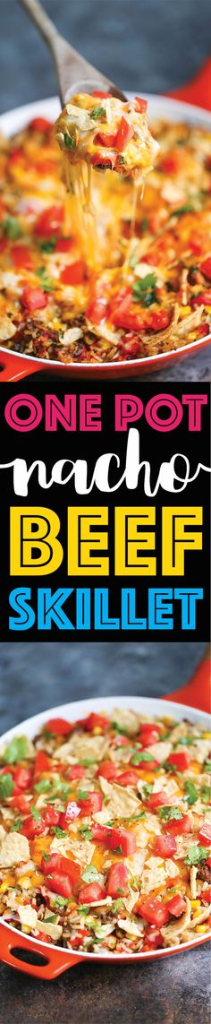 One Pot Nacho Beef Skillet - A 30-min ground beef dinner where you only need to dirty up ONE PAN! With corn, tomatoes, bell peppers, cheese and rice!