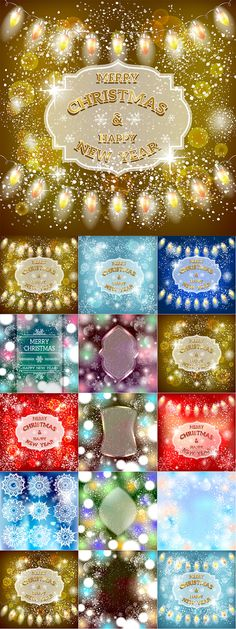 Блог Колибри: Christmas vector background with sparkling garland. Christmas Card Background, Christmas Cards, Vector Background, Snowflakes, Garland, Sparkle, Winter, Holiday, Christmas E Cards