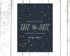 Star Night Sky, Unique Save The Date Cards in Navy Blue, Bokeh Star Invitations