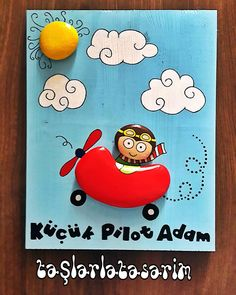 Riding the clouds Stone Crafts, Rock Crafts, Diy And Crafts, Crafts For Kids, Pebble Painting, Pebble Art, Stone Painting, Rock Family, Album Design