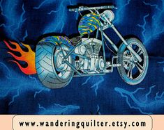 View Fabric by the Yard by WanderingQuilter on Etsy Harley Davidson Fabric, Etsy Seller, Yard, Quilts, Unique Jewelry, Handmade Gifts, Crafts, Vintage, Handcrafted Gifts