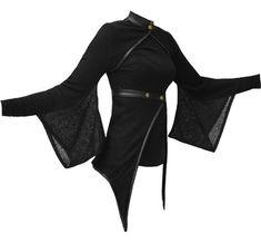 Vodabox Kimono Shrug Wrap w/ leather look Trim Polo Neck / dystopia / urban wasteland / post apocalyptic inspiration / women's fashion Dark Fashion, Gothic Fashion, Street Fashion, Cool Outfits, Fashion Outfits, Womens Fashion, Kimono Fashion, Elf Kostüm, Kimono Shrug