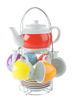 Rainbow Tower Porcelain Tea Set and Stand