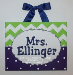 Personalized Chevron teacher name sign classroom wall art teacher gift teacher door sign teacher name art lime green purple navy dots custom by Sweetartandparty on Etsy https://www.etsy.com/listing/248328034/personalized-chevron-teacher-name-sign