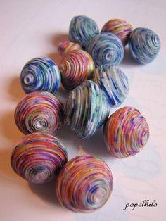 """papelhilo : les créations de l'araignée: tuto : perles en papier """"boules psychédéliques"""""""