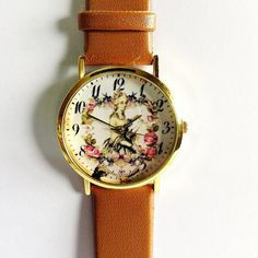 Floral Watch, Marie Antoinette,  Vintage Style Leather Watch, Women Watches,  Boyfriend Watch, Black, Tan, White on Etsy, $10.00