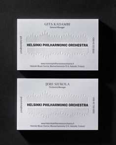 Branding and blind embossed business cards for Helsinki Philharmonic Orchestra by Bond, Finland