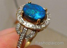 diamond blue opal ring | Stunning Cobalt Blue Solid Australian Black Opal & Diamond Ring 14k ...