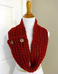 Cranberry Button Scarf