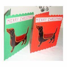 Pack of 2 Christmas Cards Dachshund Daschund Xmas Dogs £2.50