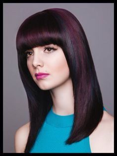 thick full bangs with long fringe hair Asian Ombre Hair, Hair Color Asian, Hair Color Purple, Fringe Hairstyles, Hairstyles With Bangs, Straight Hairstyles, Pageboy Haircut, Balayage Blond, Medium Hair Styles