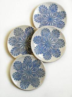 Designer Teller Set keramik geschirr set teller schalen 5 stück shabby chic weiß blau