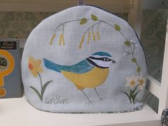 blue tit embroidered tea cosy by samantha peare embroidered textiles | notonthehighstreet.com
