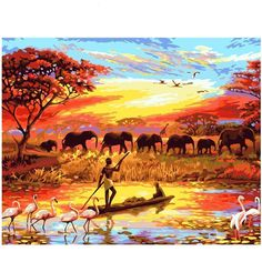 Hot Price CHENISTORY Elephant Sunset Diy Painting By Numbers Landscape Modern Wall Art Canvas Painting Hand Painted Unique Gift For Home .more information please click the link Simple Oil Painting, Diy Painting, Painting Canvas, Kit Pintura, Images D'art, Afrique Art, African Sunset, Paint By Number Kits, Wall Art Pictures