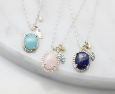 Simple cubic setting Gemstone with tiny leaf pendant Necklace