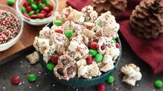 A sweet holiday snack mix finished with a dusting of powdered sugar and inspired by a winter snow day. Chex™ cereal, marshmallows and pretzel twists are coated in vanilla almond bark and sprinkles and tossed with holiday-colored chocolate candies.