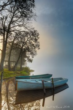Looking east on a misty morning on the north shore Loch Achray, Trossachs, Scotland. Photo by Karl Williams