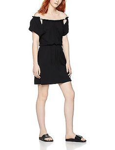X-Small, Black, FIND Women's Cut-Out Shoulder Dress NEW
