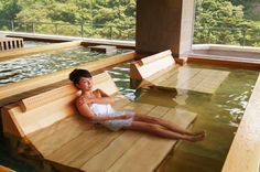 30 kinds of hot springs and hot springs of luxury. Japanese Style Bathroom, Japanese Bath, Spring Spa, Spring Resort, Japanese Hot Springs, Pool Water Features, Outdoor Baths, Natural Swimming Pools, Dream Bath