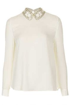 **Bronze Studs Collar Blouse by Sister Jane - Tops - Clothing