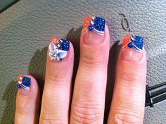 My BSU nails :) Football Nails, Pretty Nails, Nail Designs, Nail Art, Awesome, Sports, Soccer Nails, Hs Sports, Cute Nails