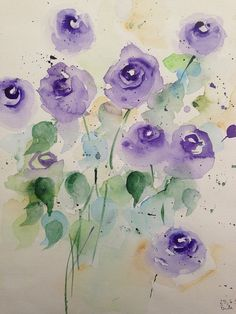Watercolour 'flowers in the vase30 x 40 cm flowers